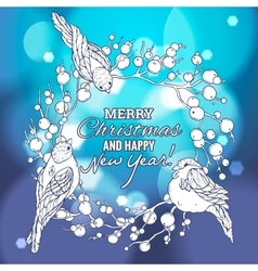 Christmas and New Year linear vector image