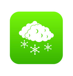 clouds and snow icon digital green vector image