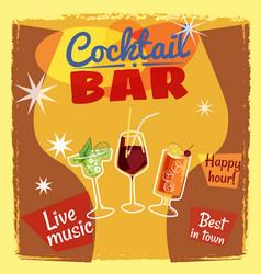 Cocktail bar invitation flyer cartoon style vector