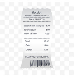 coconut milk shampoo receipt printed vector image