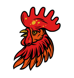 Colorful rooster head with red crest vector