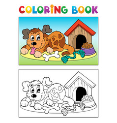 coloring book dog theme 3 vector image