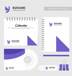 Company design brochure with stationary items vector