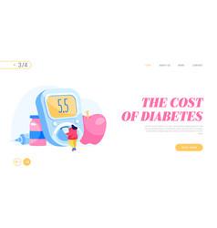 Control diabetes sickness landing page template vector