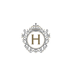 crown leaf logo initial h vector image