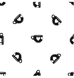 Cup pattern seamless black vector