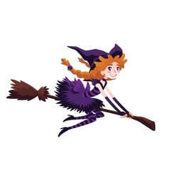 Cute redhead witch flying on a broom and smiling vector