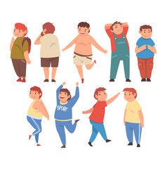 Cute smiling fat boys set cheerful overweight vector