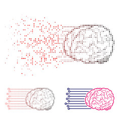 Damaged pixelated halftone brain connections icon vector