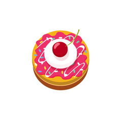 delicious small cake with cherry icon or vector image