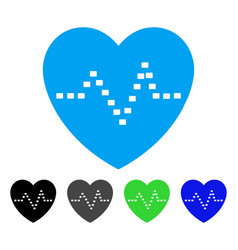 Dotted heart pulse flat icon vector