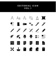 Editorial glyph style icon set vol1 vector