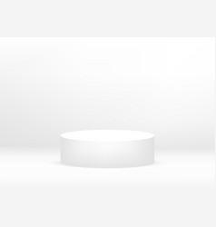 Empty podium studio white background for product vector