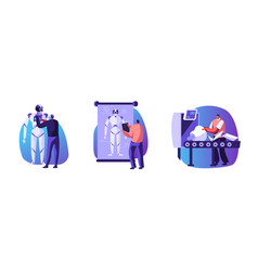engineers characters making and programming robots vector image