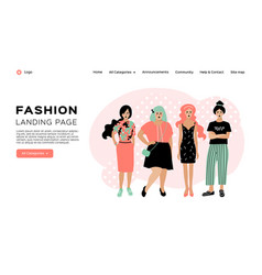 fashion landing page clothing store web template vector image