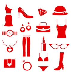 Female clothes icons vector