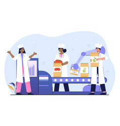Female workers putting fresh vegetables and greens vector