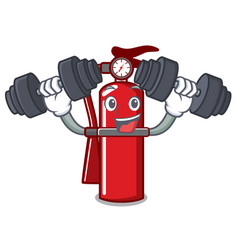 Fitness fire extinguisher character cartoon vector