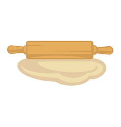 flat dough and wooden rolling pin isolated vector image