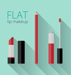 Flat lip makeup set vector image