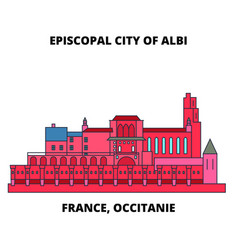 France occitanie - episcopal city of albi line vector