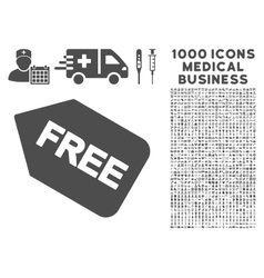Free Sticker Icon with 1000 Medical Business vector image