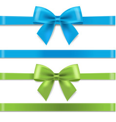 Green and blue silk ribbon and bow vector