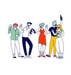 Group young men and women holding glasses vector