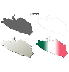 Guerrero blank outline map set vector image