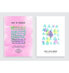 Hand drawn watercolor cards vector