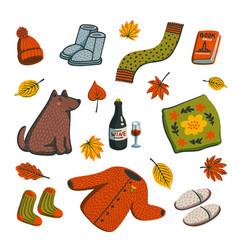 Hello autumn icons autumn essentials warm clothes vector