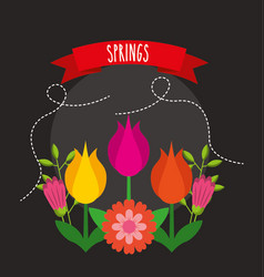 Hello spring poster with flowers and ribbon vector