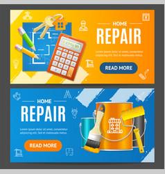 Home repair service banner horizontal set vector