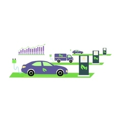 Icon Flat Growing Popularity Electric Vehicles vector image