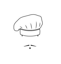 icon french chef black white emblem vector image