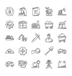 Industrial doodle icons set vector