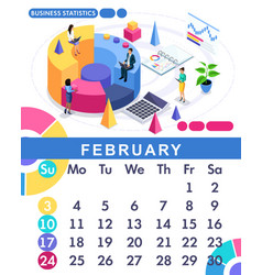 isometric calendar 2019 financial administration vector image
