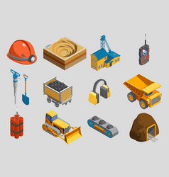 Isometric mining elements set vector