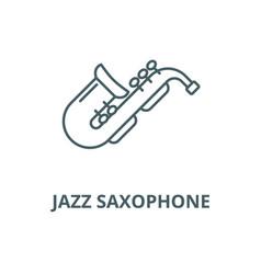 Jazz saxophone line icon linear concept vector