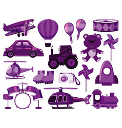 Large set different objects in purple vector
