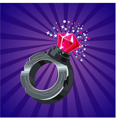 magical ring with crystal game design concept vector image