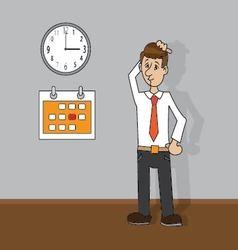 man looking at clock and calendar vector image