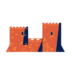 medieval mediterranean castle or fortress icon vector image