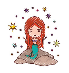 mermaid in a rock with stars in colored crayon vector image