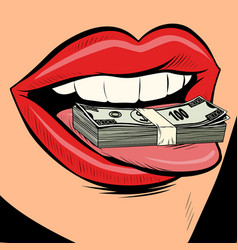 Money dollars female tongue mouth vector