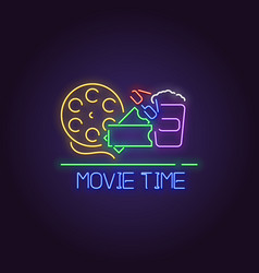 movie time neon banner vector image