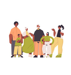 Multi generation african american family happy vector