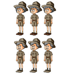 Old men in safari clothes vector