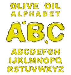 olive oil alphabet letters vector image