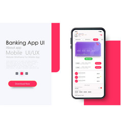 Online banking mobile apps ui ux gui set with vector